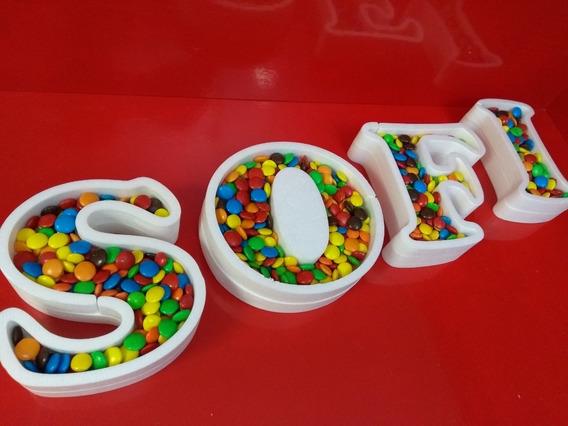 Pack 5 Letras Huecas Polyfan Para Rellenar Candy Bar