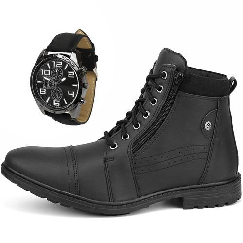 9008a428e Bota Masculina Sapato Coturno Casual Com Zíper + Relógio - R$ 89,90 em  Mercado Livre