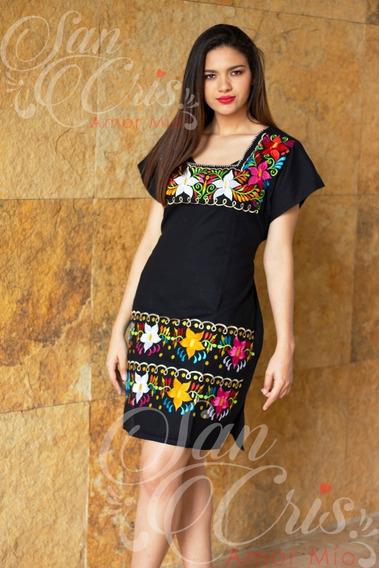 Vestido Mediano Artesanal / Negro Bordado Flores De Chiapas