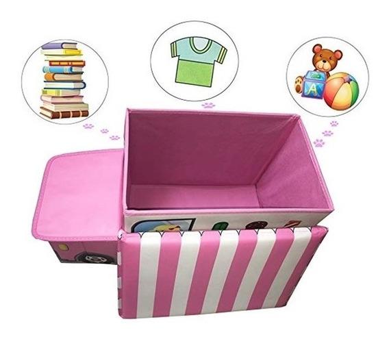Puff Infantil Com Bau Organizador De Brinquedos Princesas