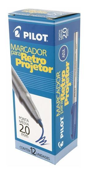Caneta Para Retro-projetor Azul 2.0mm Pilot Caixa 24 Canetas