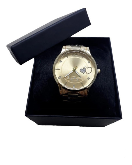 Relógio Dourado Feminino Com Caixa Na Promoção Presente Amor