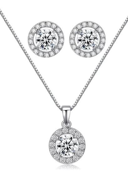 Fino Collar Y Aretes Cristal Austriaco Corte Diamante Envío