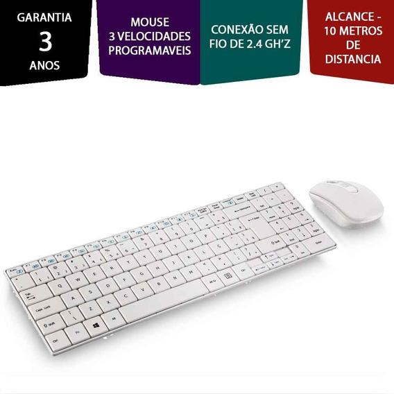 Kit Teclado E Mouse Multilaser Sem Fio Branco Tv Smart Pc