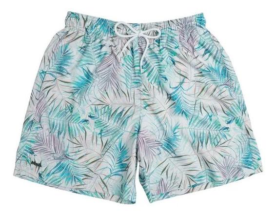 Shorts Beachwear Estampado Floral Color Cinza Mash Ref: 61325