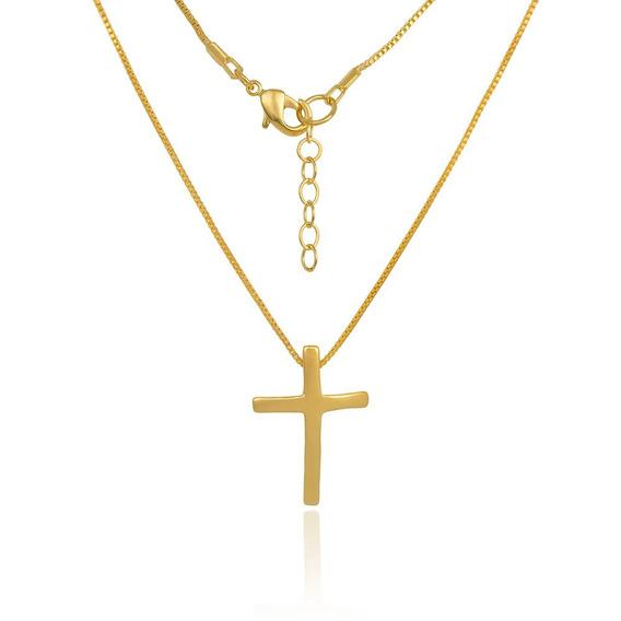 Colar Crucifixo Médio Banhado À Ouro