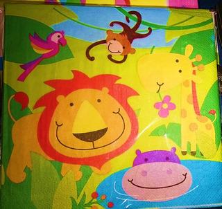 Servilletas Animales De La Selva - Servilletas Safari X 10