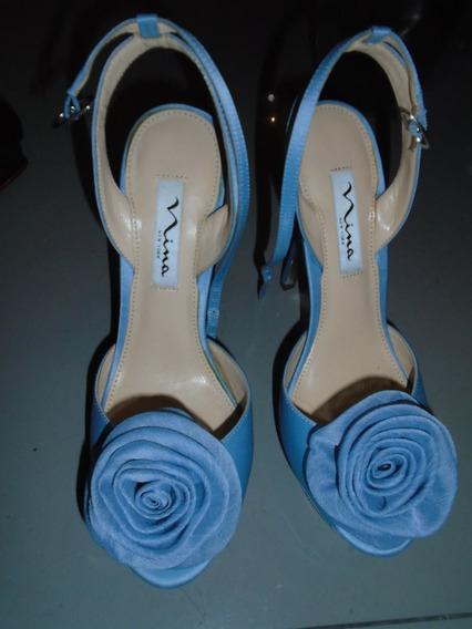 Zapato Azul Flor,zara,bcbg,vuitton,fendi,gucci,mk,dior