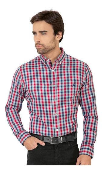 Camisa Casual Long Beach Polo Club Hombre Rojo Algodon Lst16