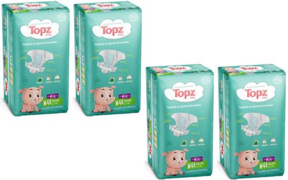 Kit Fralda Topz Baby Descartável Mega Pacotão Tam M 176 Unid