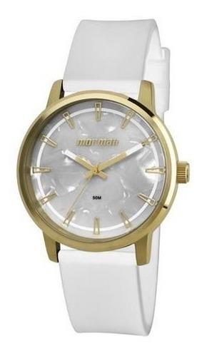 Relógio Mormaii Feminino Mo2035dn/8b Branco E Dourado