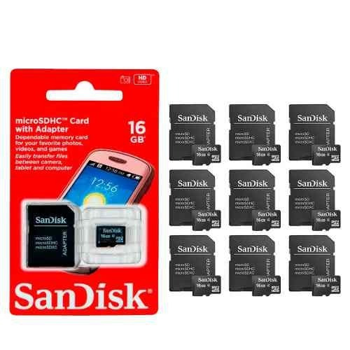 Kit 10 Cartão De Memória Sd Sandisk 100% Original 16gb