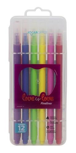 Marcador Fine Love Is Love Estojo Com 12 Un - Jocar Office