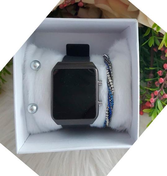 Relógio Feminino Conjunto Brinco E Pulseira Presente Kit 11