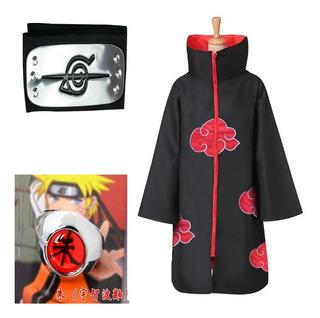 Disfraz Akatsuki Naruto Cosplay + Anillo + Cintillo Uchiha