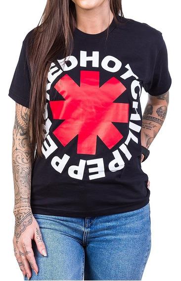 Camiseta Red Hot Chili Peppers Logo Redondo Preta