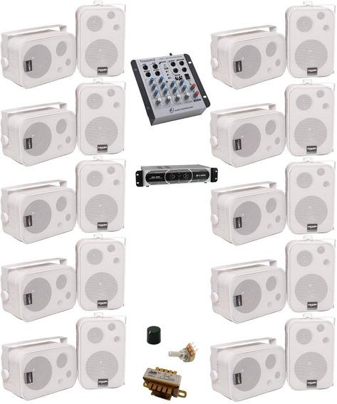 Som Ambiente Mesa Usb + Potência 550w + 20 Caixas Sp-400 Nca