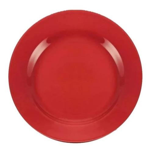 Plato Postre Redondo Cerámica Rojo 18 Cm / 12 Unidades