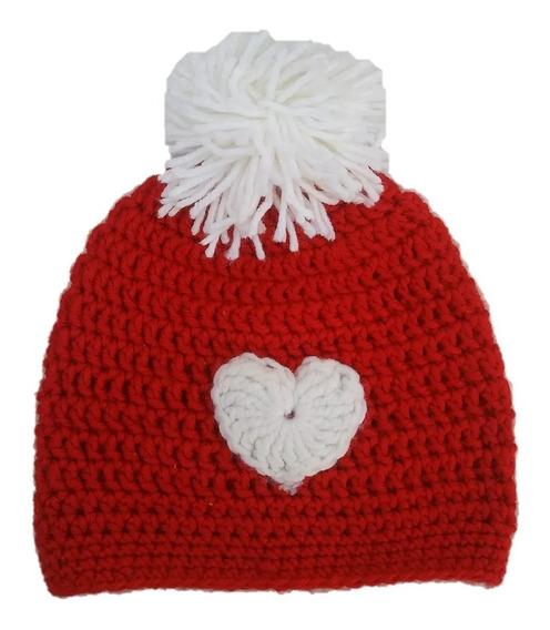 Gorro Crochet Corazón, Rojo, Amor, San Valentin Para Sesión