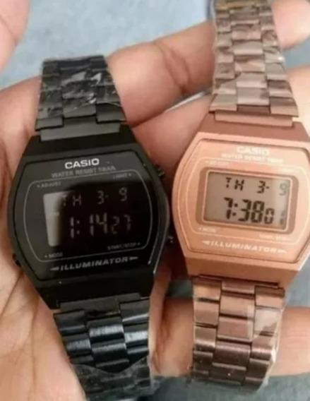 Reloj Casio Negro Mate + Rosa Gold B640w Duo Retro Vintage