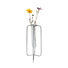 Vaso De Vidro Com Aramado Em Metal Cinza 17cm