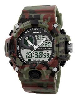 Reloj Hombre Militar Cronometro Alarma Luz Deportivo Sumergible Camuflado Caja Regalo