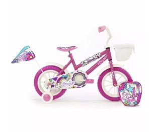 Bicicleta Rod 12 Nena Infantil Stark 6047 Rueditas Mochila