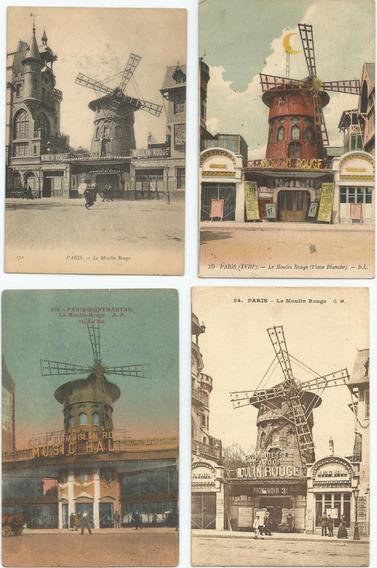 Lote De 4 Antiguas Postales Moulin Rouge, París