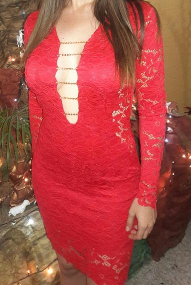 Vestido Rojo. Blonda Encaje Talla S