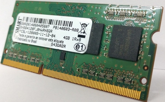 Memória Ddr3 Notebook 4 Gb 12800s Mhz 1rx8 Smart Semi-nova