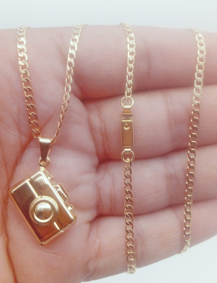 Colar+pingente De Ouro 18k Banhado Máquina Foto Grumet 261