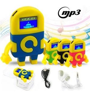 Mp3 Con Visor Minion + Auriculares + Cable Usb De Carga