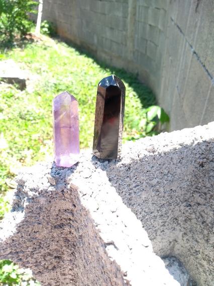 Kit 2 Ponta Ametista Obsidiana Negra Cristal Gerador Mandala