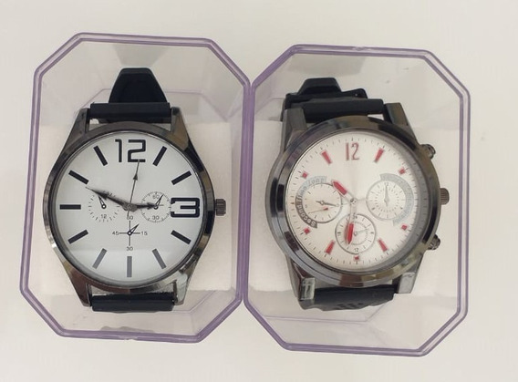 Kit 02 Relógios Masculino + Caixa + Bateria Reserva