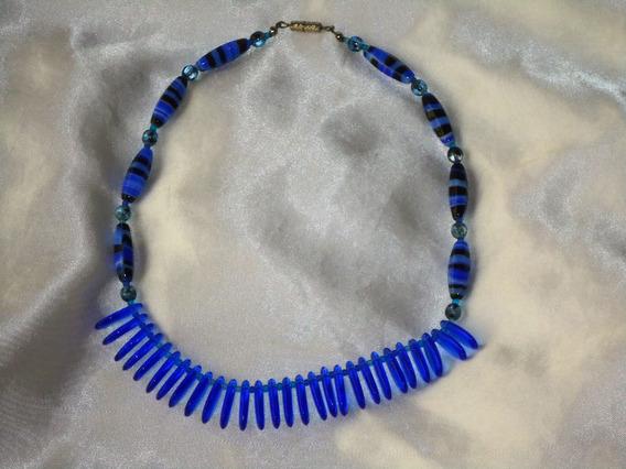 Lindo,elegante Colar Vintage Em Murano Azul,itália,déc.80
