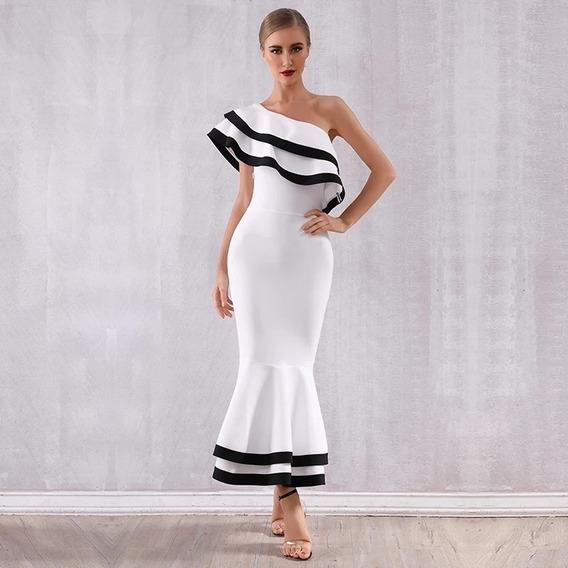 Vestido Mujer Diseñador Herve Leger Un Hombro Xs S M L