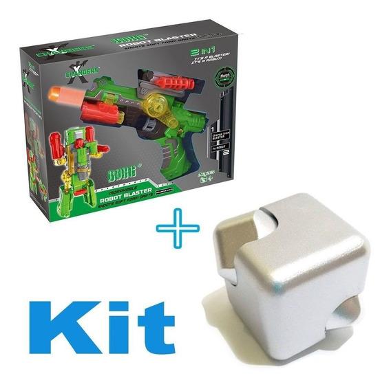 Lançador De Dardos Vira Robo Transformers + Brinquedo Spiner