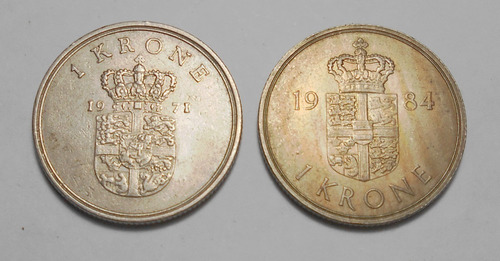 Dinamarca 2 Monedas De 1 Corona 1971 1984 - Km#851 - 862