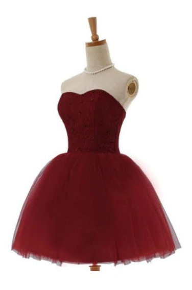 Vestido Curto Debutante Balada Vermelho E Marsala