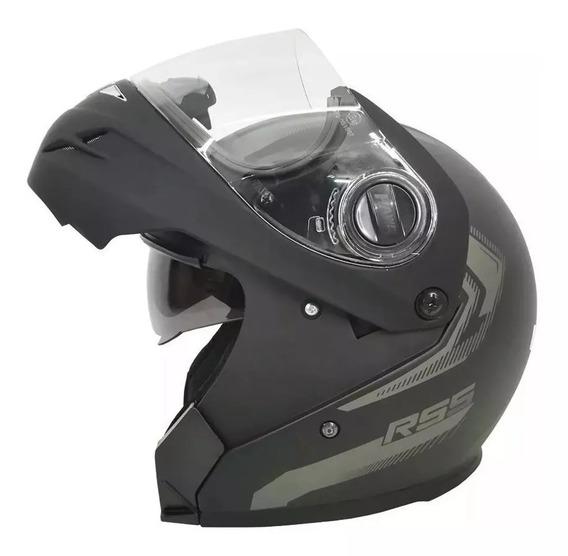 Casco Rebatible Rs5 Vector Doble Visor Negro Mate Freeway!!