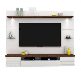 Estante/ Painel Para Tv Até 55 Pol Dj Móveis Branco/rústico