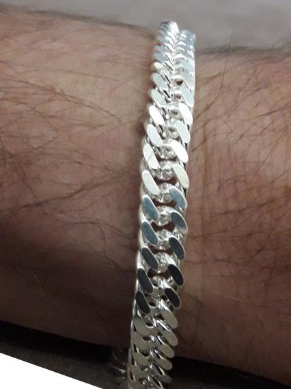 Pulseira Em Prata 925 Groumet Masculina 21cm 20.5gr + Brinde