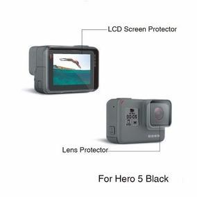 2 Película Proteção Lente E Tela Lcd Gopro Hero 5 6 Black