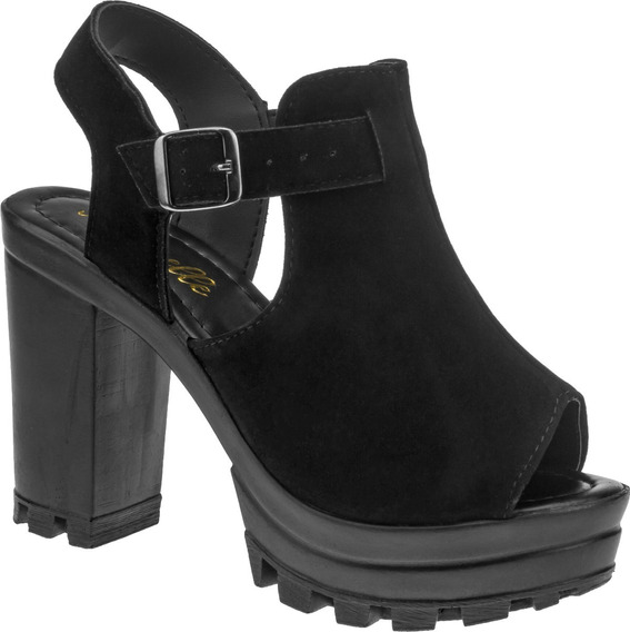 Sandalia Feminina Sapato Salto Plataforma Tratorada |s02.sa