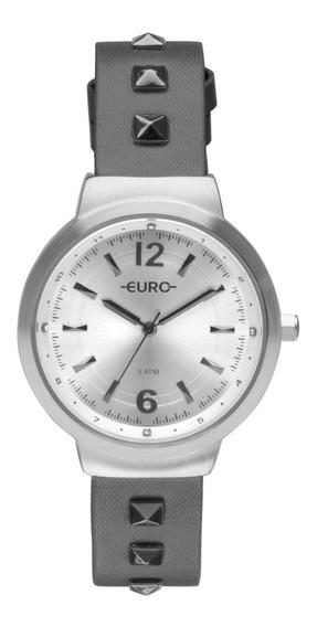 Relógio Feminino Prateado Euro Pulseira Em Couro Com Pedras