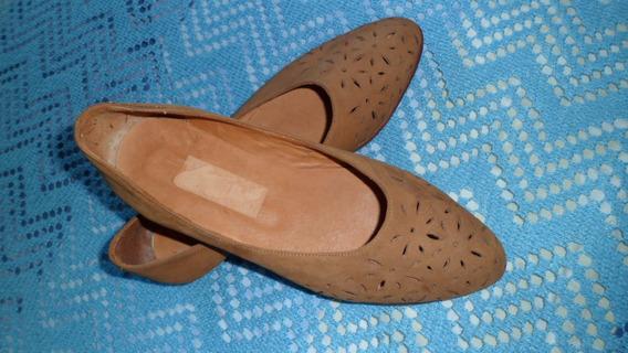 Zapatos De Dama Nº 35.cuero Flor. ( A Estrenar) Colegiales.