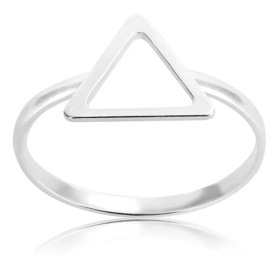 Anel Prata 950 Triangulo Vazado Lennaz