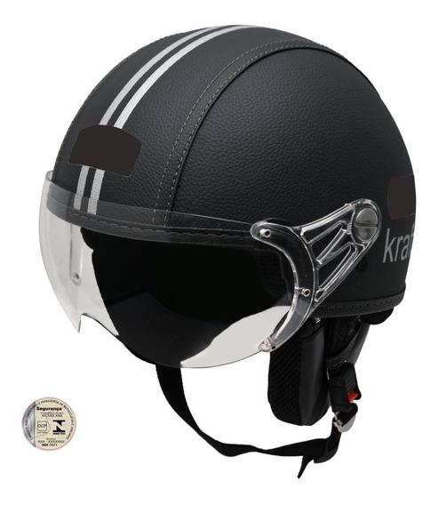 Capacete Kraft Couro Preto Custom Harley Drag Shadow