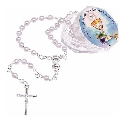 Lembrancinha Primeira Eucaristia - Terço Pérola 4mm