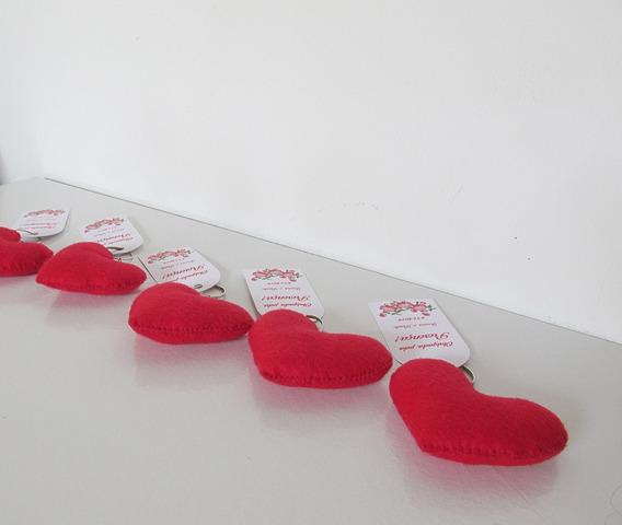Chaveiros Coração Feltro Lembrancinhas Kit Com 10